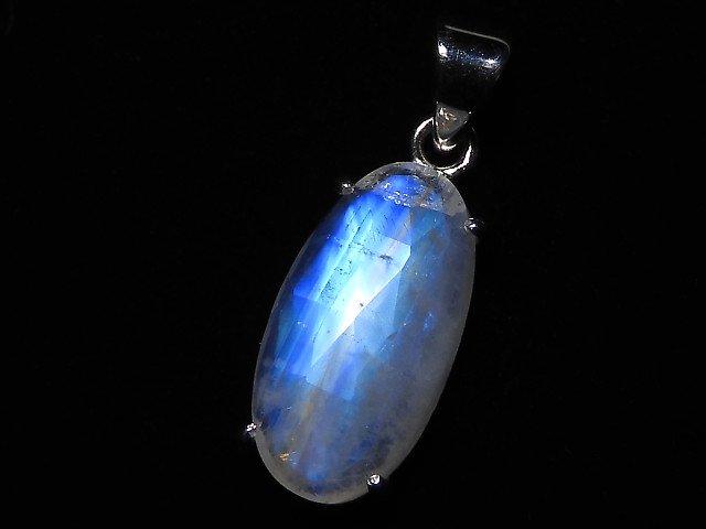 【動画】【1点もの】インド産宝石質レインボームーンストーンAAA カット入りペンダントトップ SILVER925製 NO.111