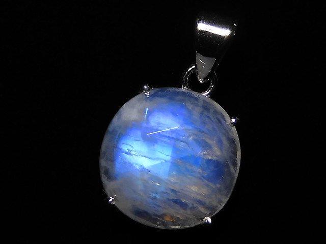 【動画】【1点もの】インド産宝石質レインボームーンストーンAAA カット入りペンダントトップ SILVER925製 NO.116