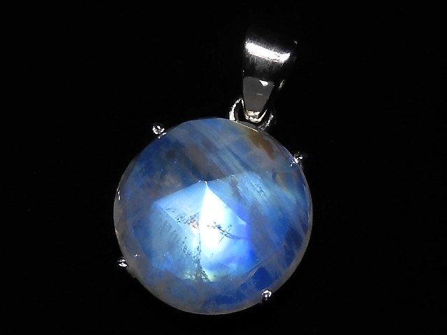【動画】【1点もの】インド産宝石質レインボームーンストーンAAA カット入りペンダントトップ SILVER925製 NO.121