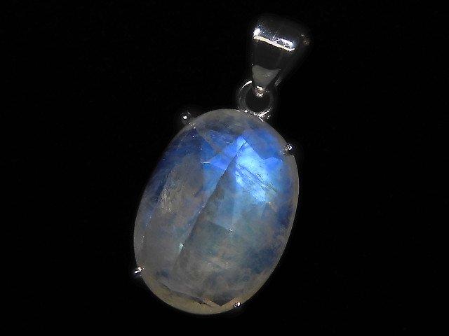【動画】【1点もの】インド産宝石質レインボームーンストーンAAA カット入りペンダントトップ SILVER925製 NO.122