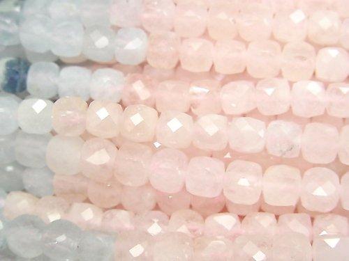 【動画】【素晴らしい輝き】ベリルミックス(マルチカラーアクアマリン)AA++ キューブカット5×5×5mm 1連(約36cm)