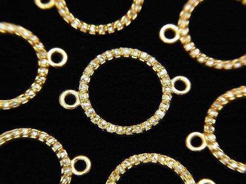 【動画】ダイヤモンド コイン(ドーナツ)チャーム 12×12×1.5mm 【両カン】 18KGP製 1個
