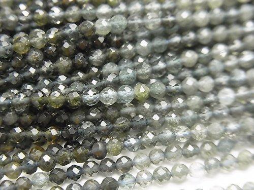 【動画】宝石質モスアクアマリンAAA 極小ラウンドカット2.5mm 1連(約37cm)
