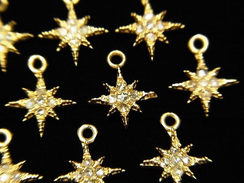 【動画】ダイヤモンド スター(星)チャーム 8×8×1.5mm 18KGP製 1個