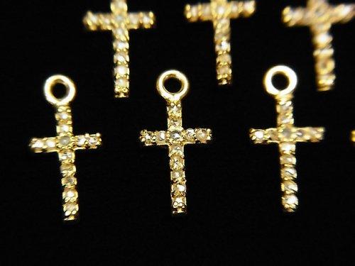 【動画】ダイヤモンド クロス(十字架)チャーム 10×6×1.5mm 18KGP製 1個