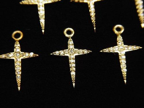 【動画】ダイヤモンド クロス(十字架)チャーム 14×10×1.5mm 18KGP製 1個