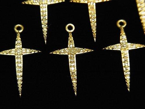 【動画】ダイヤモンド クロス(十字架)チャーム 20×12×1.5mm 18KGP製 1個
