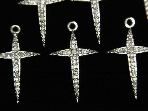 【動画】ダイヤモンド クロス(十字架)チャーム 18×12×1.5mm SILVER925製 1個