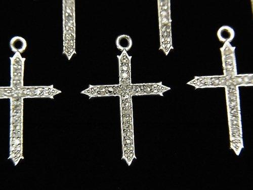 【動画】ダイヤモンド クロス(十字架)チャーム 18×13×1mm SILVER925製 1個