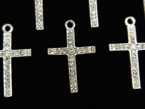 【動画】ダイヤモンド クロス(十字架)チャーム 17×12×1mm SILVER925製 1個