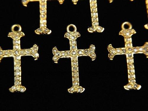 【動画】ダイヤモンド クロス(十字架)チャーム 16×10×1.5mm 18KGP製 1個