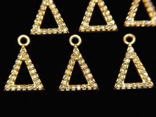 【動画】ダイヤモンド トライアングル(ドーナツ)チャーム 10×8×1.5mm 18KGP製 1個