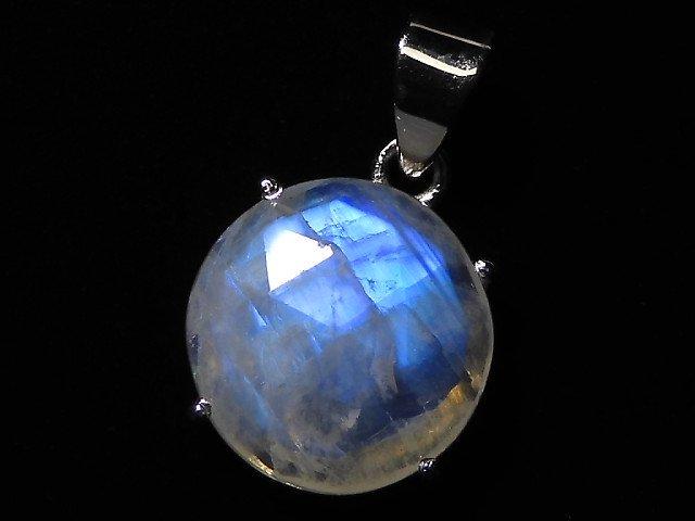 【動画】【1点もの】インド産宝石質レインボームーンストーンAAA カット入りペンダントトップ SILVER925製 NO.137