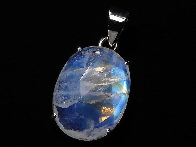 【動画】【1点もの】インド産宝石質レインボームーンストーンAAA カット入りペンダントトップ SILVER925製 NO.142