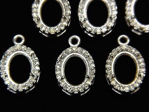 【動画】ダイヤモンド ペンダント空枠 オーバルファセットカット8×6mm SILVER925製 1個