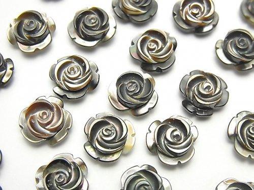 【動画】高品質ブラックシェル(黒蝶貝)AAA 薔薇10mm 【片穴】 3粒