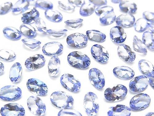 【動画】宝石質タンザナイトAAA 穴なしオーバルファセットカット6×4mm 2粒