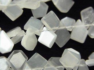 【動画】宝石質ホワイトムーンストーンAAA ラフスライスカット 1連(約18cm)