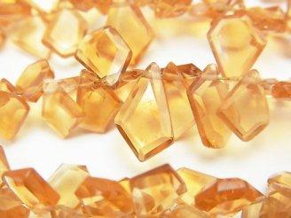 【動画】宝石質ブランデーシトリンAAA ラフスライスカット 半連/1連(約18cm)