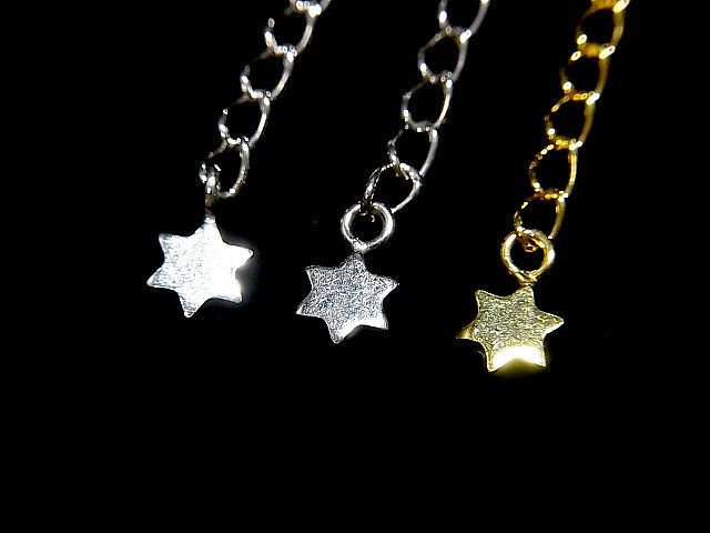 Silver925 アジャスターパーツ スター(星) 【純銀仕上げ】【18KGP】【ロジウム】 2個