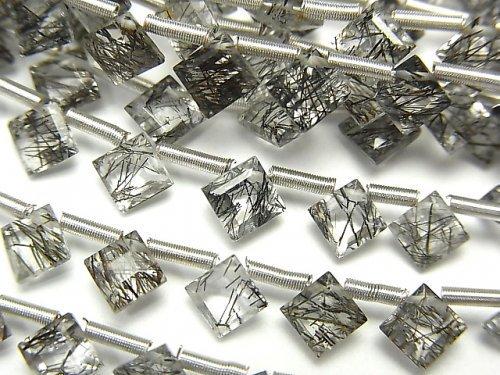 【動画】宝石質トルマリンクォーツAAA- ダイヤ プリンセスカット5×5mm 1連(13粒)