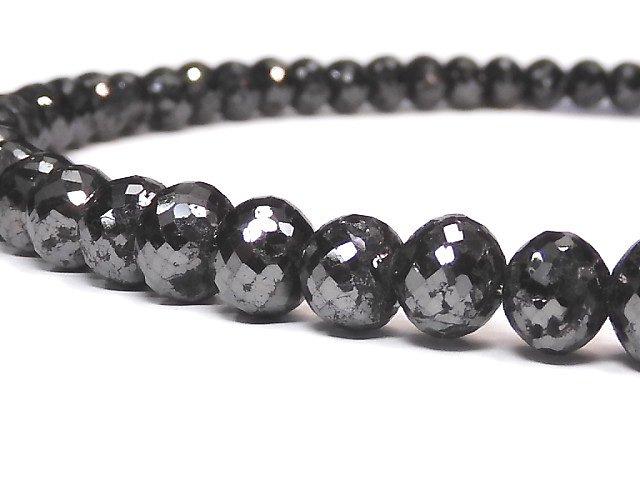 【動画】【1点もの】【1mm穴】ブラックダイヤモンド 大粒ボタンカット 1連(約44cm) NO.2