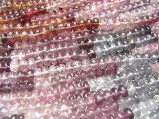 【動画】宝石質マルチカラースピネルAAA- ロンデル(ボタン) 半連/1連(約34cm)
