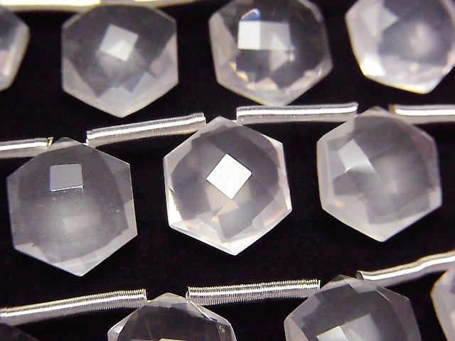【動画】宝石質ローズクォーツAAA ヘキサゴンカット11×10mm 1連(8粒)