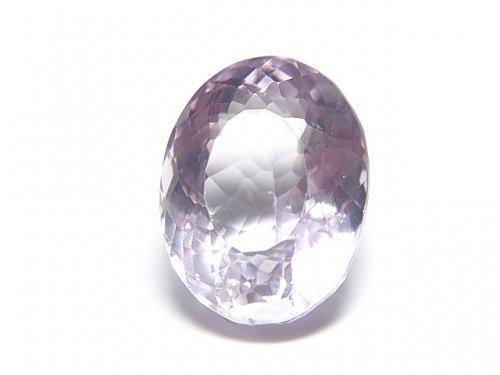 【動画】【1点もの】宝石質ピンクアメジストAAA 穴なしオーバルファセットカット 1粒 NO.1