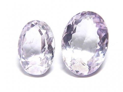 【動画】【1点もの】宝石質ピンクアメジストAAA 穴なしオーバルファセットカット 2粒セット NO.13
