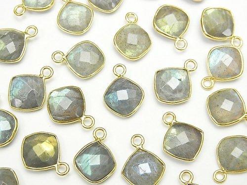 【動画】宝石質ラブラドライトAAA- 枠留めダイヤカット9×9mm 18KGP 3個