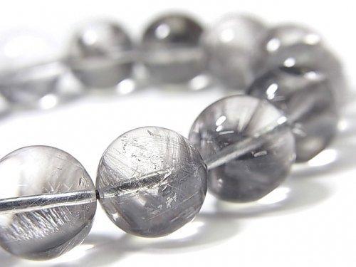 【動画】【1点もの】宝石質プラチナルチルクォーツAAA ラウンド12.5mm 1連(ブレス) NO.107