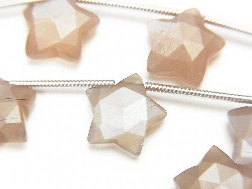 【動画】宝石質チョコレートムーンストーンAAA スターカット10×10mm 1連(8粒)