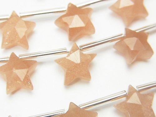 【動画】宝石質ピンクムーンストーンAAA スターカット10×10mm 1連(9粒)