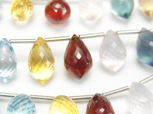【動画】【極上カット】宝石質いろんな天然石AAA+ マーキスライス ブリオレットカット 1連(約10cm)