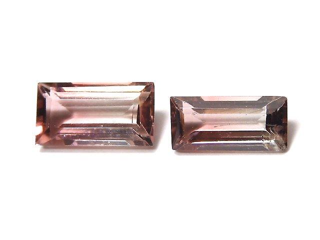 【動画】【1点もの】ナイジェリア産宝石質バイカラートルマリンAAA ファセットカット 2粒セット NO.121