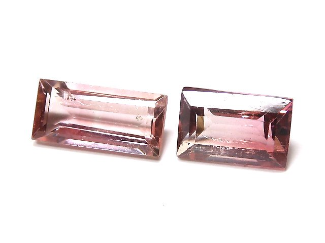 【動画】【1点もの】ナイジェリア産宝石質バイカラートルマリンAAA ファセットカット 2粒セット NO.124