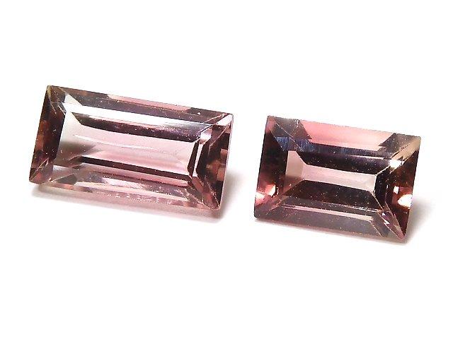 【動画】【1点もの】ナイジェリア産宝石質バイカラートルマリンAAA ファセットカット 2粒セット NO.125
