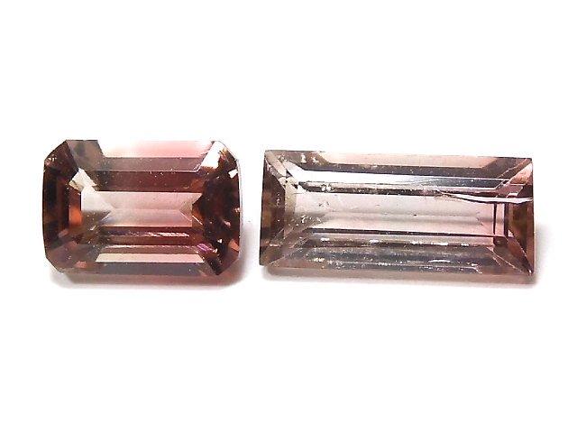 【動画】【1点もの】ナイジェリア産宝石質バイカラートルマリンAAA ファセットカット 2粒セット NO.126