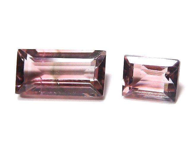 【動画】【1点もの】ナイジェリア産宝石質バイカラートルマリンAAA ファセットカット 2粒セット NO.127
