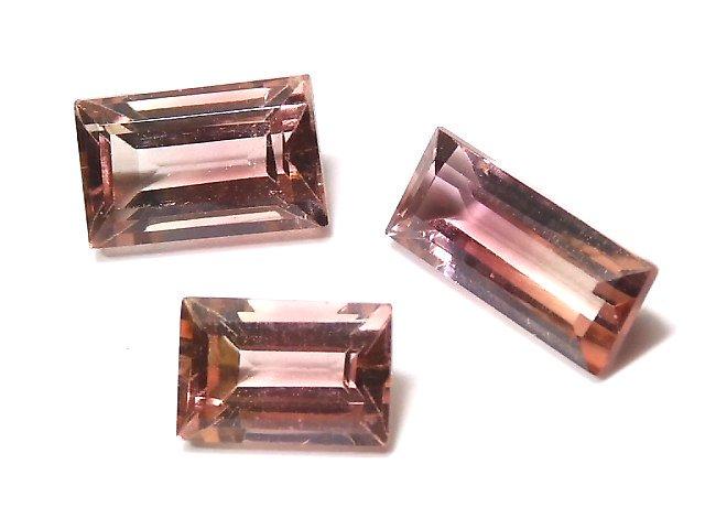 【動画】【1点もの】ナイジェリア産宝石質バイカラートルマリンAAA ファセットカット 3粒セット NO.132