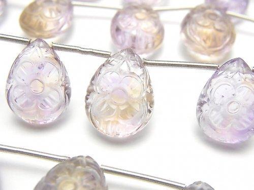 【動画】宝石質アメトリンAAA 彫刻入りペアシェイプ 1連(5粒)