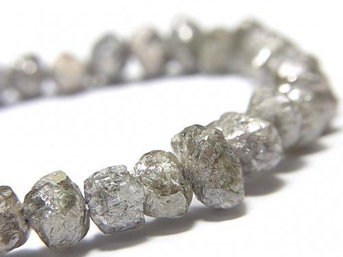 【動画】【1点もの】【1mm穴】グレーダイヤモンド ラフタンブル 1連(ブレス) NO.100