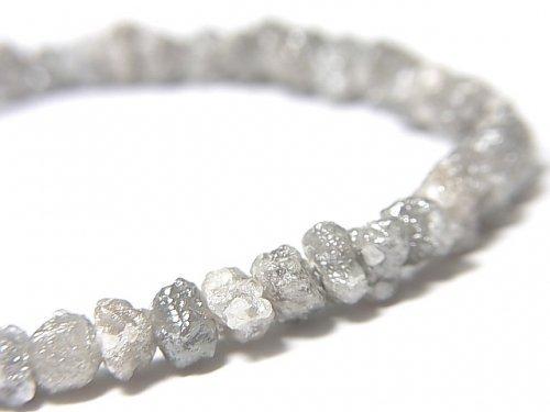 【動画】【1点もの】【1mm穴】グレーダイヤモンド ラフタンブル 1連(ブレス) NO.6
