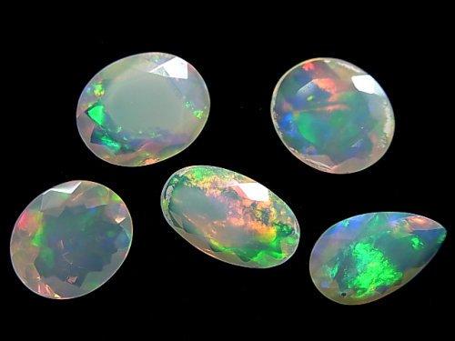 【動画】【1点もの】宝石質エチオピア産オパールAAA ファセットカット 5粒セット NO.12