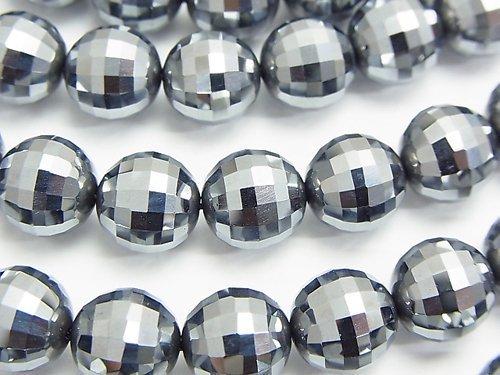 【素晴らしい輝き】高純度テラヘルツ鉱石 ミラーラウンドカット10mm 1/4連〜1連(約37cm)