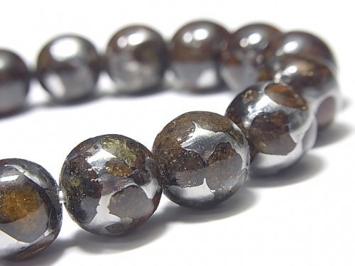 【動画】【1点もの】【希少】ケニア産セリコパラサイト隕石 ラウンド12.5mm 1連(ブレス) NO.7