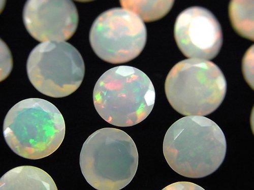 【動画】宝石質エチオピア産オパールAAA 穴なしラウンドファセットカット8×8mm 2粒