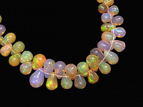 【動画】【1点もの】宝石質エチオピア産オパールAAA ドロップ(プレーン) 1連(約20cm)  NO.3