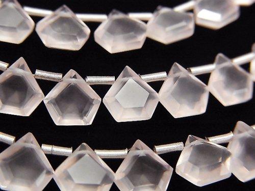 【動画】宝石質ローズクォーツAAA ペンタゴン ファセットカット7.5×7.5mm 1連(8粒)
